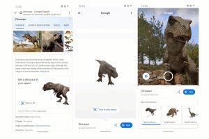 通过Google的增强现实技术可以在现实世界看到恐龙